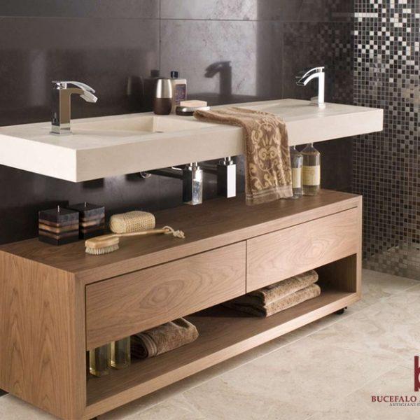 arredo bagno moderno in legno di rovere